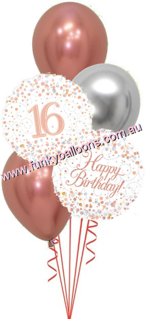 16th Fizz Rose Gold Birthday Bouquet