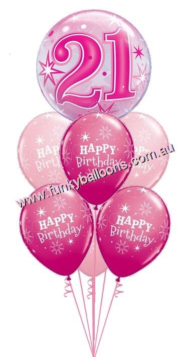 21st Pink Starburst Bubble Birthday Bouquet