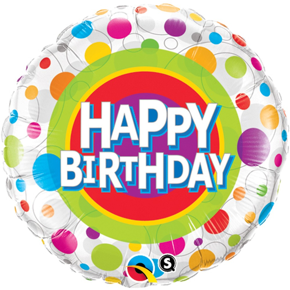 Happy Birthday Colourful Dots Foil