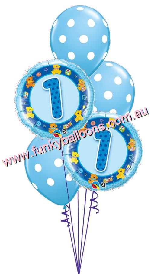Blue 1st Birthday Teddies Bouquet