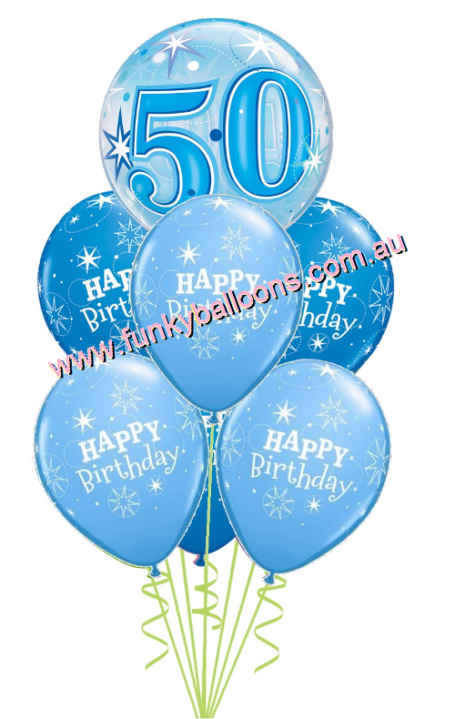 50th Blue Starburst Bubble Birthday Bouquet