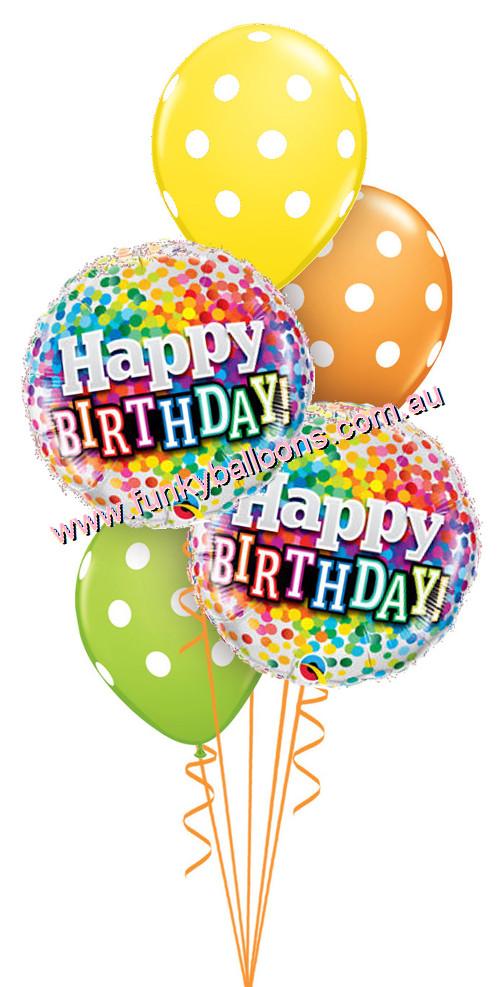 Happy Birthday Rainbow Confetti Polka Dots Bouquet